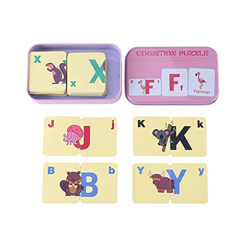 Cartes de puzzle de Cognition Mignon Cartes Flash de l'Eveil Précoce avec Boîte de Fer Nombres Lettres Formes Animaux Premiers Jouets d'apprentissage Bébés Tout-Petits Enfants (#3)