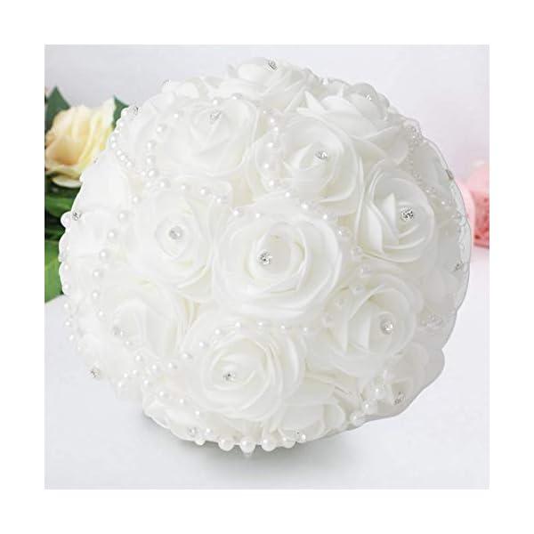 CESHUMD Ramo de boda flores de novia marfil, elegante perla novia dama de honor ramo de boda cristal brillante