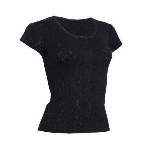 Floso Camiseta de Manga Corta Térmica Interior con Cuello en V de Viscosa  para Mujer c48804310df1