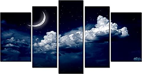 OBELLA New Wall Art Canvas Prints 5 Pieces ++Crescent Moon and Cloud++ Framed With Inner Frames, Ready to Hang - 5 Panel Canvas Wall Art Multipart Canvas - Wall Art Picture, Canvas Picture, Decorative Picture Modern Contemporary Posters Oil Paintings Prints and Pictures Photo Image Wall Art Prints on Canvas for Home Bedroom Living Room Office Wall Decor Christmas Gifts