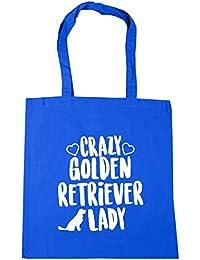 HippoWarehouse Crazy Golden Retriever Lady Bolso de Playa Bolsa Compra Con Asas para gimnasio 42cm x