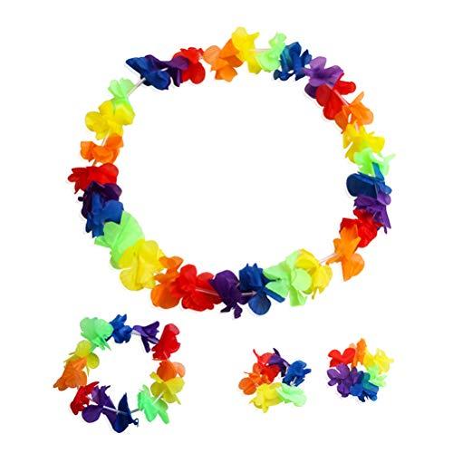Amosfun 6 Sets Rüschen Kunstseide Blume Hawaiian Leis Halskette Armbänder Blumenkranz Stirnband Blumenkranz Krone Frauen Mädchen Kopfbedeckung für Luau Party Supplies Gastgeschenke