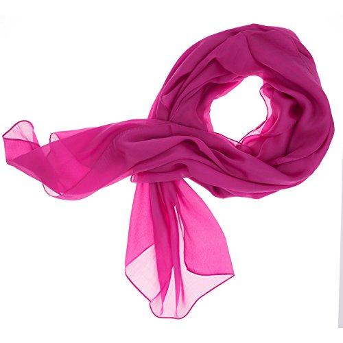 Lady Sunshine Damen Seidenschal XXL Schal Halstuch Tuch Stola aus feinstem Chiffon mit Seide (Fuchsia)