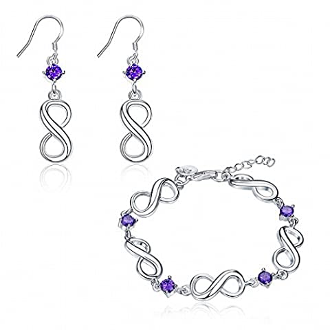 Inlay 8-Character Two-Piece Earrings Bracelet Suit , Violet / Plaqué