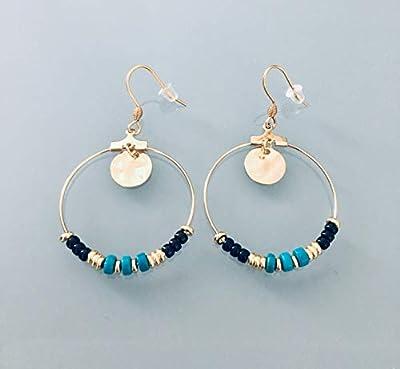 Boucles d'oreilles créoles dorées en acier inoxydable et perles Heishi or et turquoise, bijou femme, bijoux cadeaux, cadeau femme