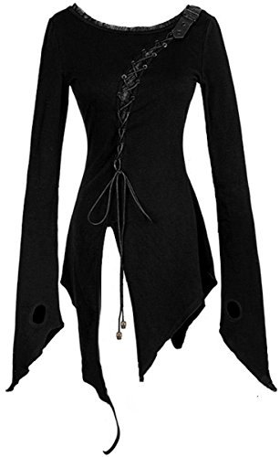 Dark Dreams Gothic Punk Rave Emo Zipfel Shirt Top Longshirt Tunika Schnürung 36 38 40 (Saum Diagonale Top)