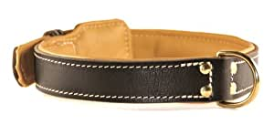 """Dean and Tyler """"ITALIAN TAILOR"""", Dog Collar with Nappa Lining and Brass Hardware - Brown - Size 24-Inch by 1-1/2-Inch - Fits Neck 22-Inch to 26-Inch"""