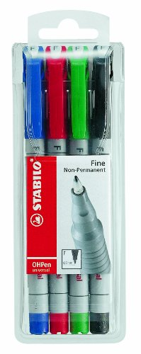 stabilo-fine-non-permanent-ohp-pen-assorted-colours-wallet-of-4
