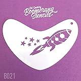 Art Factory Boomerang Pochoir - Rocket, peinture visage réutilisable Stencil, Grand pour foires, carnavals, Halloween Party &