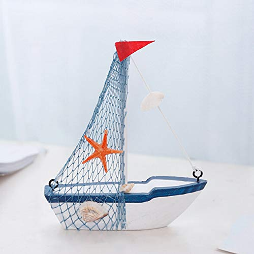 Lin XH Sailboat Model Decoration - Wooden Sailing Boat Home Decor Set, Beach Nautical Design, Navy Blue and White with Lifebuoy