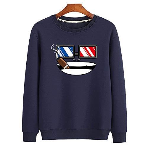 Cool & clothing Paarneuheit mit Langen Ärmeln, Sweatshirt mit Eiscreme-Aufdruck, schmaler, lässiger Pullover, schwarzes Plus-Samthemd, 100% Polyester 3XL,C,S