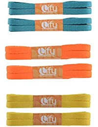 """Lify Flat Shoelaces - 8MM (5/16"""" Inch) Wide - Shoe Laces For All types of Shoes & Sneakers- White (2 Pair),Black (2 Pair) & Grey(2 Pair) - Available in 90CM ( 35.43'' Inch) & (120CM ( 47.25'' Inch)- 6 Pair Pack"""