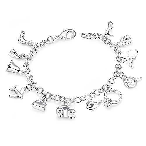 YELLOW CHIMES Jolly Charms 925 Silver Plated (hallmarked) Charm Bracelet for Girls & Women