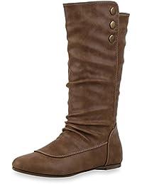 Bequeme Flache Damen Stiefel Hochschaft Stiefeletten Schuhe Gr. 36-41