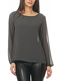 Malito Damen Chiffon Bluse   Tunika mit Fledermaus Ärmeln   Blusenshirt  leicht durchsichtig   Elegant - 9ada7fedbb