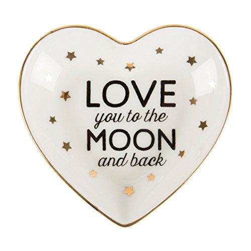 """Porzellan Schmuckteller """"Love you to the moon and back"""" mit goldenen Sternchen"""