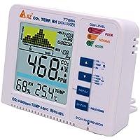 Huanyu AZ7788A - Alarma de dióxido de Carbono CO2, probador de Calidad de Aire Interior CO2/RH/Temp 3 en 1 para Monitor de 0 a 5000 ppm, Rango de medición