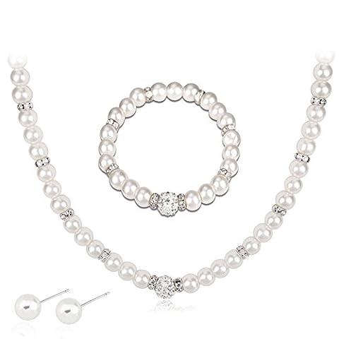 Ensembles de bijoux de mariage, collier, boucles d'oreilles, bracelet en faux diamant et en fausses perles simples pour dame par Bodhi2000®