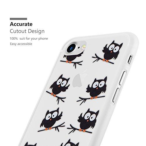 Cadorabo - TPU Ultra Slim >             Apple iPhone 8 / 7 / 7S             < Silikon Hülle mit Motiv - Case Cover Schutz-Hülle Schale Bumper Handyschale im Design: TRAUMFÄNGER 'Dreams come true' EULE BLACKY