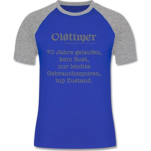 Geburtstag - 70 Jahre Oldtimer Fun Geschenk - zweifarbiges Baseballshirt für Männer Royalblau/Grau meliert