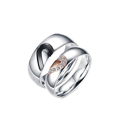 Bishiling Paarepreis Edelstahl Ringe Herren Damen Herzen Puzzle AAA Zirkonia Rund Verlobungsring Silber Paarringe Hochzeit Demen Größe 62 (19.7)&Herren Größe 65 (20.7)