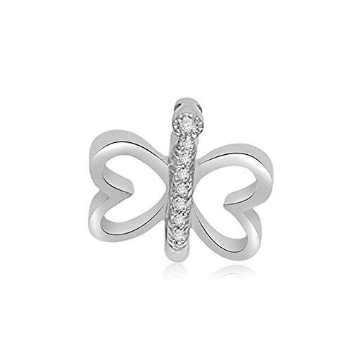 0.04ct G/SI1 Diamant Schmetterling Anhänger für Damen mit runden Brillantschliff diamanten in 18kt (750) Weißgold ohne Halsband