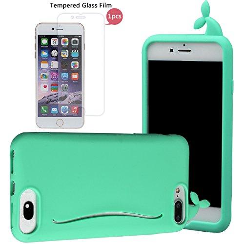 """Hülle für iPhone 7 Plus, xhorizon FM8 Silikon-nette Gummi-weiche Wal-Kaninchen-Schwanz-Kreditkarte-Karten-Fall-Abdeckung Apple iPhone 7 plus [5.5""""] grün mit einem 9H temperierten Glasfilm"""
