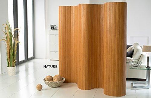DE-COmmerce l Doppelseitiger Bambus Paravent (BxH) 120-180 cm x 185 cm l Raumteiler l Trennwandl| Faltwand l Shoji l Sichtschutz Nature