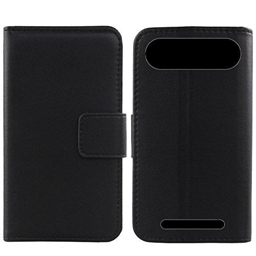 Gukas Design Echt Leder Tasche Für Doro 8035 Hülle Lederhülle Handyhülle Handy Flip Brieftasche mit Kartenfächer Schutz Protektiv Genuine Premium Case Cover Etui Skin (Schwarz)