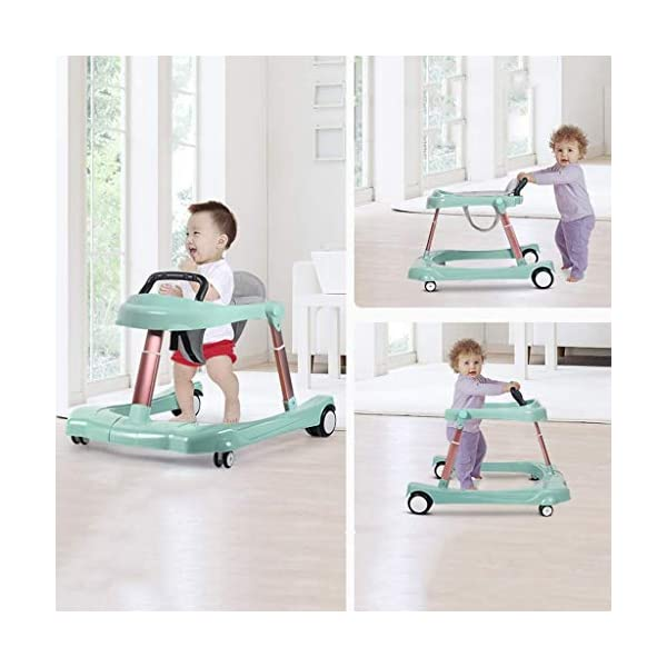 Baby Walker Multi-Function Anti Rollover U-Shaped Children Stroller 6/7-18 Months mmq ▶ height double adjustment, walker adjustment + seat cushion adjustment, according to the baby's different height, adjust to the height of the baby, let the baby comfortably walk, mute the universal wheel, no noise, no damage to the floor ▶ Heighten the thick cushion to fit the physiological curvature of the baby's cervical spine, soft and breathable cushion, detachable, easy to clean, safe and hygienic,Foldable design for easy storage ▶ Pyramid mechanics stable structure, multi-function anti-rollover, even force, help the baby to maintain body balance, reject O-legs, can cultivate the baby's correct walking posture, get out of the beautiful leg type 6