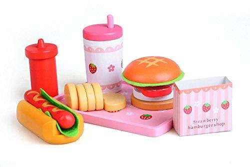 Burger Hotdog Meal Pretend Food Tablett Set aus Holz–von Babyhugs