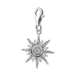 Quiges Charm Anhänger Weiß Zirkonia Sonne 925 Silber mit Karabinerverschluss für Bettelarmband