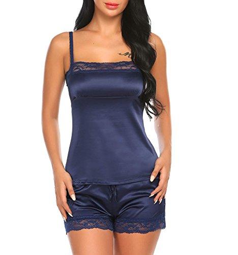 AIMADO Damen Satin Cami-Nachtwäsche Dessous Set Zweiteilige Reizwäsche Kurz Hose Schlafanzug Rückenfrei Pyjama, Marineblau, EU 42 (Herstellergröße XL) (Satin Dessous-set)