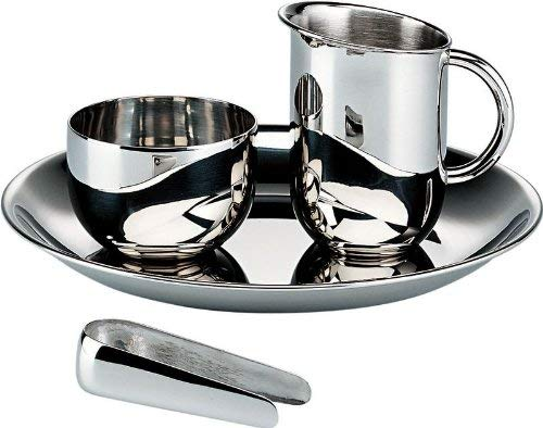 Alessi Bauhaus Zucker-und Sahnegarnitur Edelstahl glänzend poliert, 4.5 x 22 x 5.5 cm, 4-Einheiten
