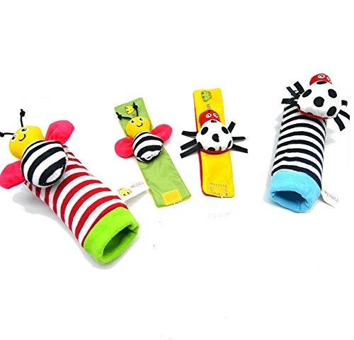 Youvinson 4pcs Set bébé Hochet Jouets Cute Animal Infant poignet hochet et pieds Finder Set développement Soft Toys for Kids