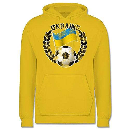 EM 2016 - Frankreich - Ukraine Flagge & Fußball Vintage - Männer Premium Kapuzenpullover / Hoodie Gelb