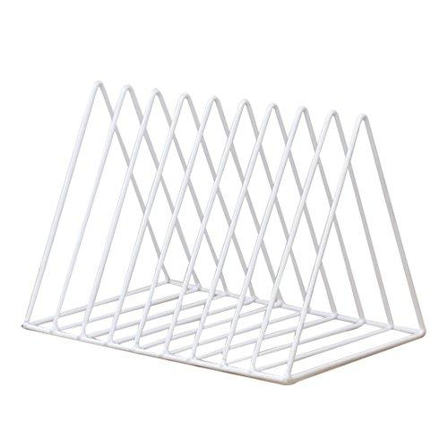 Winni43julian porta riviste moderno - portariviste da parete in ferro - 26 * 17.8 * 18.5cm - organizzatore documenti ufficio design a triangolo (bianco)