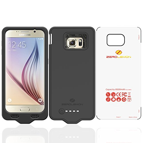 Samsung Galaxy S6 Battery Case, ZeroLemon Samsung Galaxy S6 8500mAh Extended Battery with Silica Gel Full Edge Protection Case – Black