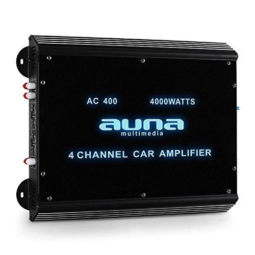 AUNA W2-AC400-4Kanal Auto-Endstufe, Car Verstärker, 360W RMS Leistung, 20Hz-20kHz Frequenzbereich, brückbar - Möglichkeit zum 3-,2- und 1-Kanal-Betrieb, Tiefpass-Filter, Acryl Panel, schwarz