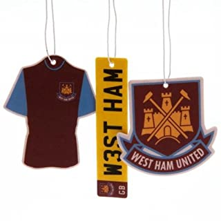 West Ham United Football Club Official Pack of 3 Air Fresheners Club Hanging Crest Car