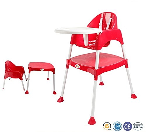 Baby High Chair BPA FREE / Adjustable Portable Space Saver Convertible 3-in-1 / Anti Skid (Red) by Bey Bee