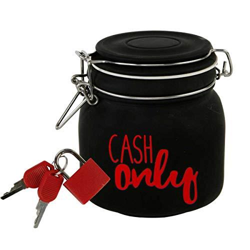 CH Trading Witzige Spardose m. Schloss Cash Only aus Glas in Schwarz