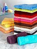 Handtücher Saunatücher Badetücher mit Namen oder Wunschbegriff bestickt, verschiedene Größen und Farben, schwere 500g-Qualität, 100% Baumwolle, Walk-Frottier Farbe Blau