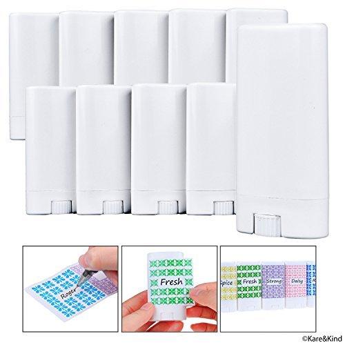 Deodorant Behälter (10-Pack) - Weiß - 0,5 Oz (15 ml) - 20 beschreibbare Aufkleber - Dreh-Mechanismus und Deckel - leer - nachfüllbare Kosmetikbehälter für hausgemachte natürliche Deodorants, Lippenbalsam, Seife, ()