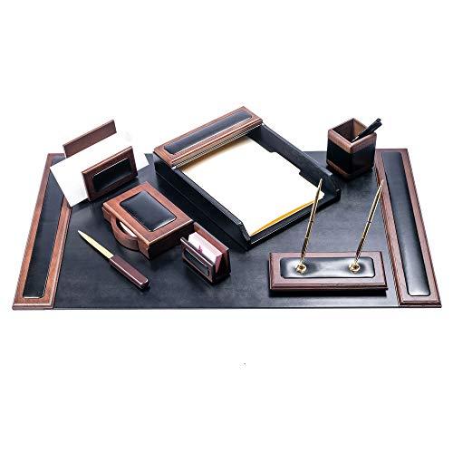 Dacasso Schreibtisch-Set, Walnuss und Schwarz Leder, 8-teilig