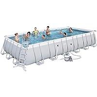 Bestway Power Steel Rectangular Frame Pool Set, hellgrau, mit Sandfilterpumpe + Zubehör, 732x366x132cm