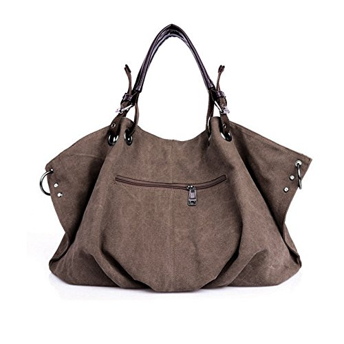 Aisi stile europeo Colored Tela di Cotone Oversize foderato Borsetta Totes Borsa a tracolla weekend bag, Coffee (marrone) - kb-04 Coffee