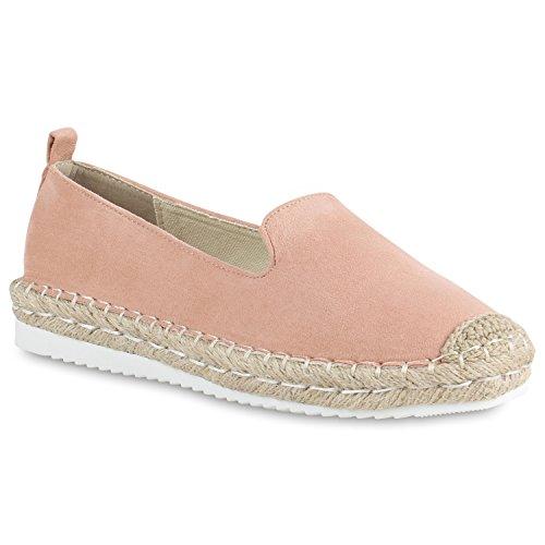 Damen Slippers Espadrilles Bast Slip Ons Profil Freizeit Schuhe 154369 Rosa 38 Flandell
