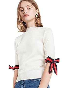 YuanDian Mujer Verano Casual Color Sólido Media Manga Tejido De Punto Camisetas Ronda Cuello Corbata De Moño Jersey...