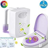 Aiyoudemutou 16 Colors LED Toilet Light Motion Detection Bathroom Night Lights, Toilet Light Motion Sensor, Sensitive Dusk to Dawn Lamp with Scented Piece